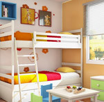 Room Interior for Kids with Bunk Bed